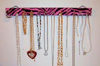 Necklace Jewelry Bracelet Hanger Holder Display with Pink Zebra Print