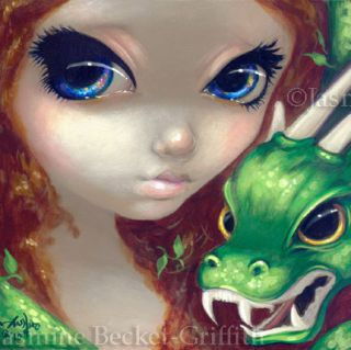 Becket Griffith Art Fantasy Green Dragon Signed 6x6 Print