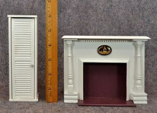 Vintage Antique Doll House Fireplace Mantel Surround Wood Wooden