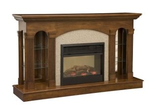 Amish Wood Electric Fireplace Mantle Wall Unit Curio Display Cabinet