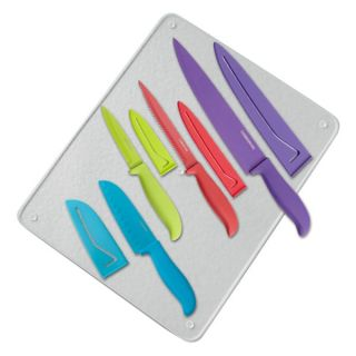 Farberware 4 Piece Resin Knife Set with Glass Cutting Board