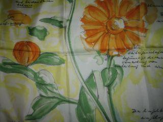 Vtg Christian Fischbacher Silk Scarf Floral Orange Yellow Green White