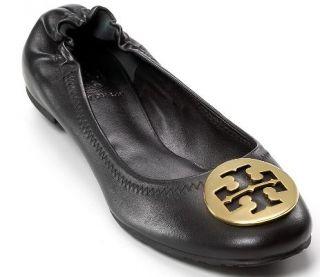 Tory Burch Reva Black Leather Gold Medallion Ballet Flats size 7 $195