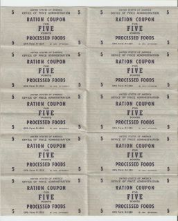 War Two Ration Coupons for Processed Foods Sheet of Five Points