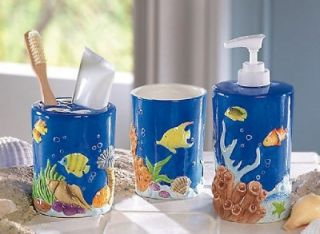 Tropical Fish Theme Ceramic Bath Accessory Set New