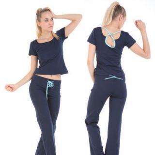 Shirt Yoga Drawstring Pants Yoga Fitness Workout Clothing Suit