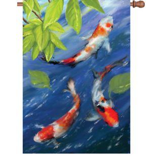Rolling hills fish pond halloween village platform display for Japanese fish flag