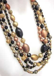 Jay Feinberg Gold Plated Crystal Multi Strand Necklace