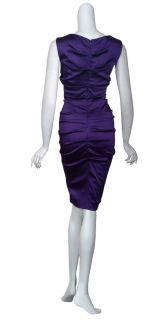 Nicole Miller Lovely Amethyst Satin Stretch Fit Ruched Cocktail Eve