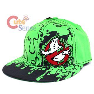 Ghostbusters Flat Bill Logo Cap Flex Fit Hat Green Stay Puft