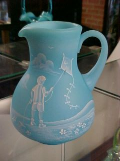 Fenton Art Glass Limited Edition Mary Gregory Sky Blue Pitcher 8143B8