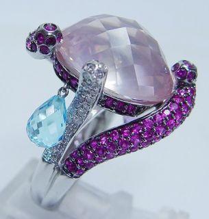 Power Rose Quartz Sapphire Diamond 18K Gold Ring Video RARE Estate