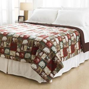 Fleece Rustic Lodge Cabin Bear Moose Pine Comforter Blanket Bedding