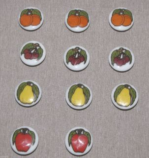 Knobs Porcelain Enamel Fruit Design Apple Cherry Orange Pear Drawer