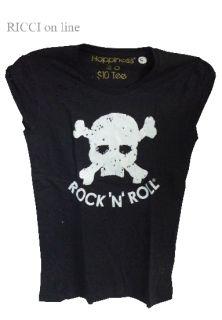 Happiness T Shirt Donna RockNRoll Teschio Nera Bucata