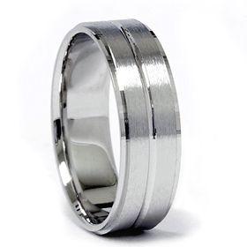 Gold Flat Brushed Wedding Ring Band Comfort Fit Mens Bridal