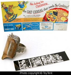 Lone Ranger saddle ring Cheerios cereal premium 1951 + film strip, ad