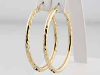 Extra Large 10K Yellow Gold Womens Round Fancy Fashionable Hoop