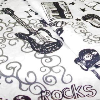 Roll Extra Long Twin Sheet Set Black White Guitar Bedding Decor