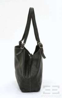Fendi Selleria Black Topstitched PEBBLED Leather Tote Bag