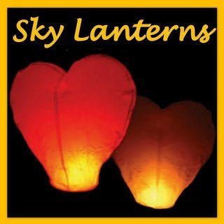 20 Lot Heart Flying Lanterns Wedding Sky Fire Balloons