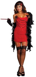 F88 1920s Charleston Red Flapper Fancy Dress Costume + Feather Boa