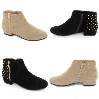New Womens Ladies Flat Ankle Boots Booties Semi Studded Double Zip