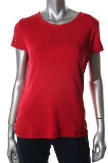 Famous Catalog New Red Cotton Crew Neck Short Sleeve T Shirt Top L