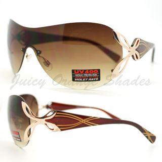 Womens Shield Sunglasses Rimless Unique Metal Accent Design New