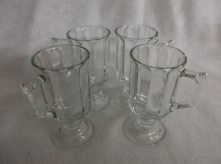 Clear Glass Footed Coffee Mugs Cups Set of 4