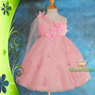 Pink Formal Dresses Wedding Flower Girl Flowergirl Party Birthday Size