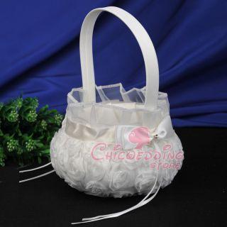 Chiffon Satin Vintage 3D Rosette Wedding Baskets Flower Girl Basket