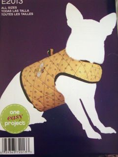 DOG COAT Simplicity Sewing Pattern 2013