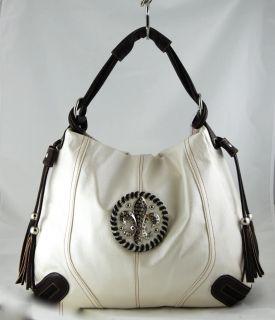 Fleur de Lis Handbag Oversized Hobo Rhinestone Tote
