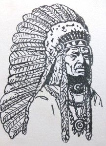 mounted rubber stamp native american indian chief warrior feather