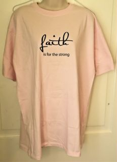 Christian T Shirt Faith Is for The Strong Religious Message Printed