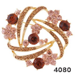 Flora Circle Pin Brooch Golden 46 52mm Colorful Crystal Rhinestone