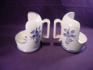 Lot Ceramic Blue White Wall Candle Sconce Votive Floral
