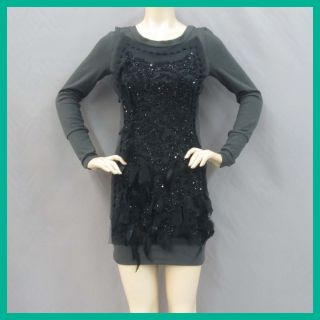 Foley Corinna Womens Beaded Feather T Shirt Dress Grey Black XS $495