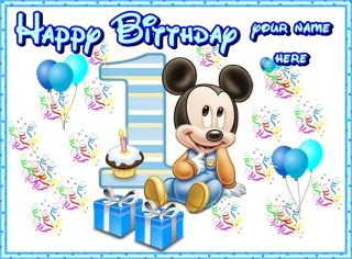 Mickey Mouse First Birthday Frosting Sheet Edible Cake Topper