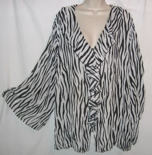 4X NEW MAGGIE BARNES WHITE BLACK RUFFLE COLLAR BUTTON FRONT BLOUSE TOP