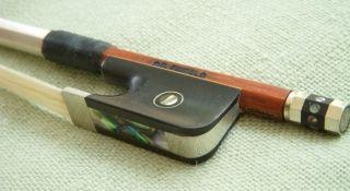 Beautiful pernambuco Finkel viola bow stamped branded silver violin 8