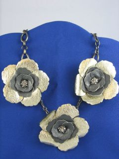 Fossil Brand Black Gray Silver Leather Flower Necklace