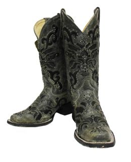 Ladies Corral Boots A1130 Black Crater Overlay with Studs Free