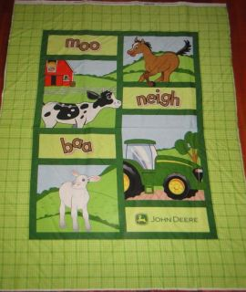 John Deere Farm Tractor Animal Quilt Panel Fabric GR