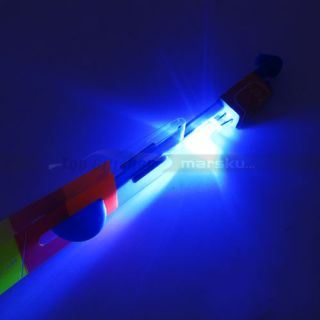 Flying Toy Fun Umbrella Helicopter Rubber Band Rocket Blue LED Light