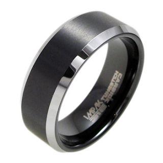 Beveled Black Stripe Comfort Fit Wedding Band Ring Sz 9 13