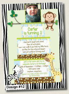 Printed Jungle Cake Boys Neutral Baby Shower Invitation 1st Birthday