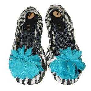 New Steve Madden Girl Footzy Rolls Flats Zebra Flower Ballet 7 Small