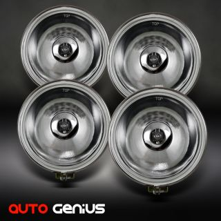 Round 4x4 Off Road Glass Lens Fog Lights w Switch Complete Kit